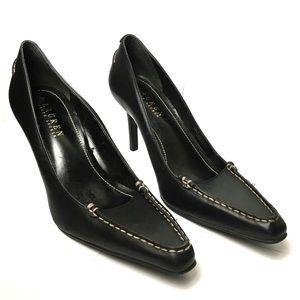 Ralph Lauren Black Leather Mira Heels